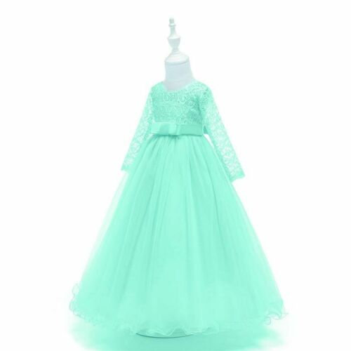 Lace Formal flower girl Dress kids party bridesmaid princess wedding Tulle Gown