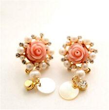 Rosa resina orecchini bocciolo di rosa con cristallo perla involucro