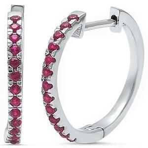 Ruby Hoop Earrings in Solid Sterling Silver -  JULY BIRTHSTONE