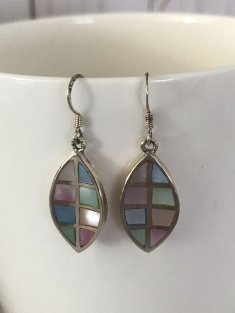 925 Sterling Silver Dyed Mother-of-Pearl Dangle Earrings
