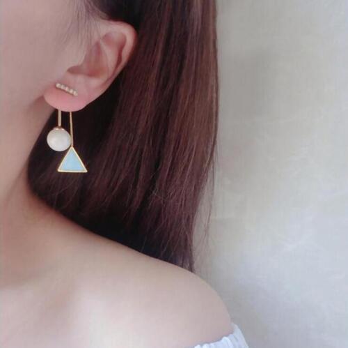 Elegant Crystal Ear Stud bleu triangle Pearl Dangle Boucles d/'oreilles Femmes Bijoux