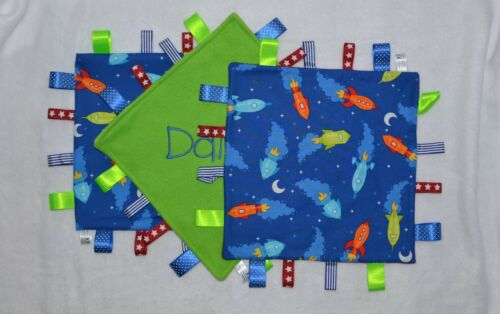 PERSONALISED SPACESHIP FABRIC BABY BOY RIBBON TAGGY BLANKET COMFORTER