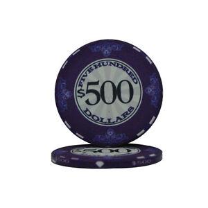 100 Purple $500 Scroll 10g Ceramic Casino Poker Chips New - Buy 4, Get 1 Free