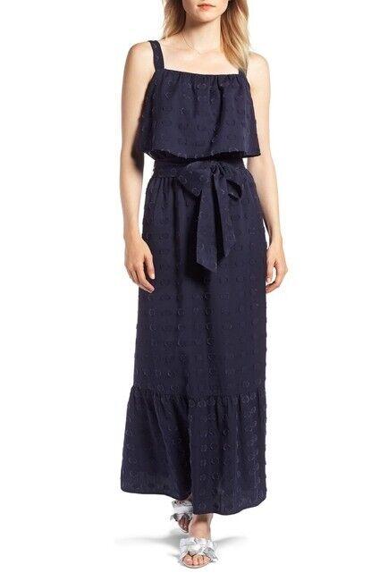 1901 FOR WOMEN CLIP 37 DOT POPOVER MAXI NAVY NIGHT DRESS sz L