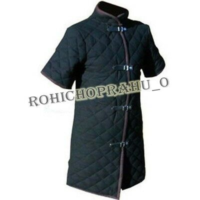 New Medieval Thick Black viking Gambeson Padded Short Sleeve