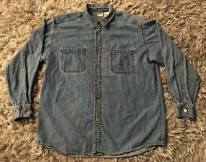VTG-Levi-039-s-Blue-Jean-Shirt-Large-Red-Tab-Denim-90s-Work-Chore-L-Cowboy