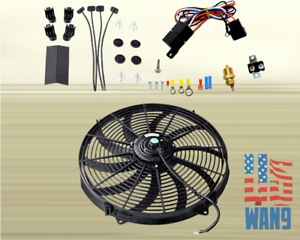 """16/"""" Electric Universal Push//Pull Cooling Tornado Slim Fan Thermostat Relay Kit"""