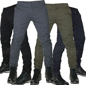Dettagli su Pantaloni uomo Casual cotone slim chino elasticizzati Tasca America a filo nuovo