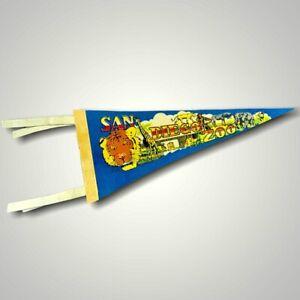 VINTAGE Pennant Flag Felt San Diego Zoo California Blue