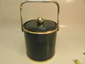 Vintage-Ice-Bucket-039-039-Golf-Theme-039-039-Vinyl-covered-Green-with-gold-trim