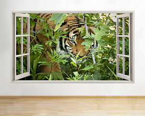 Wall Stickers Tigre Leone Safari Zoo NATURA FOGLIE VERDE Decalcomania POSTER 3D ART A096 							 							</span>