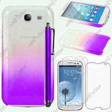 Housse Etui Coque Gouttelettes Violet Samsung Galaxy S3 i9300 + Stylet + 3 Films