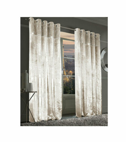 Paloma Curtains Faux Velvet Fully Lined Eyelet Soft Fabric Home Décor Curtains
