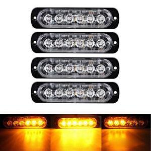 4X-Amber-6-LED-Car-Truck-Emergency-Beacon-Warning-Hazard-Flash-Strobe-Light-Bar