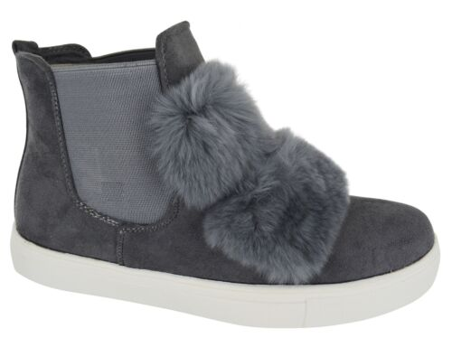 KIDS GIRLS CHILDREN POM POM FUR TRAINER FLAT CHELSEA ANKLE FLUFFY FUR BOOTS 7-2