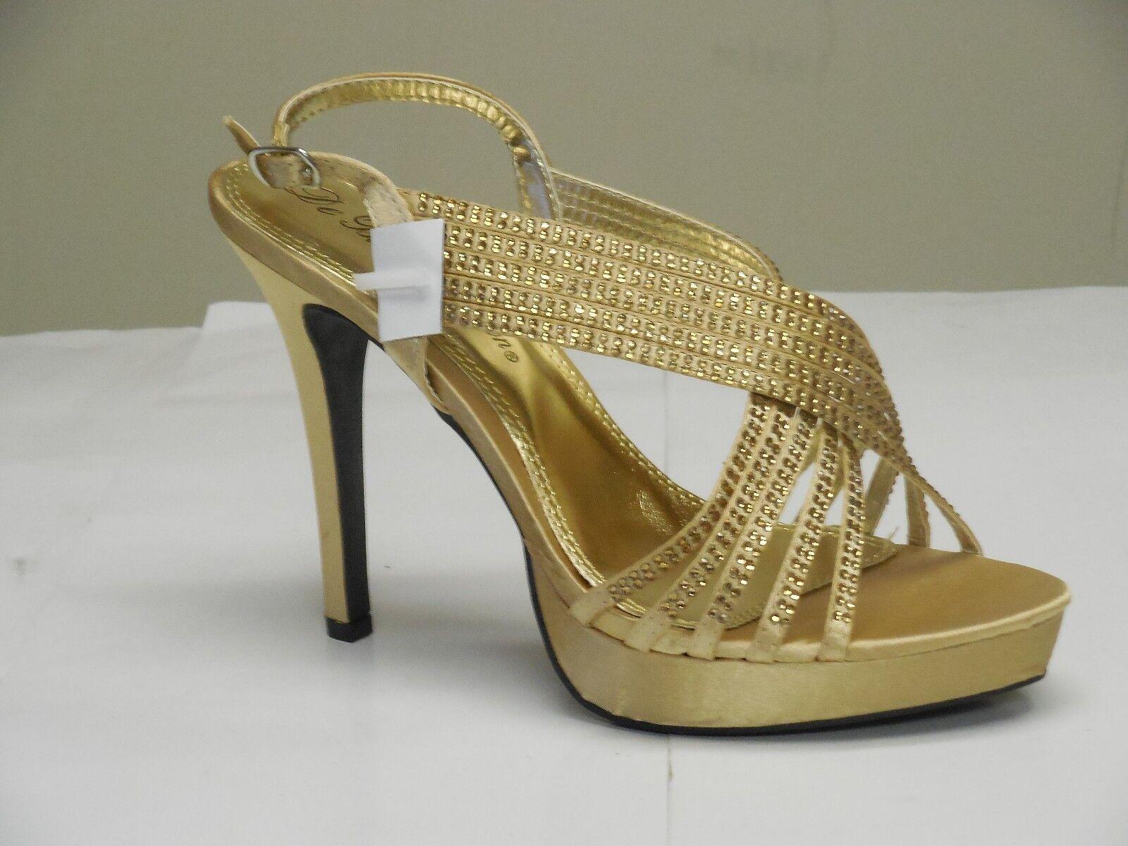 De Blossom Women's Isabel-2 Classy Sexy gold Satin Rhinestone Dress High Heels