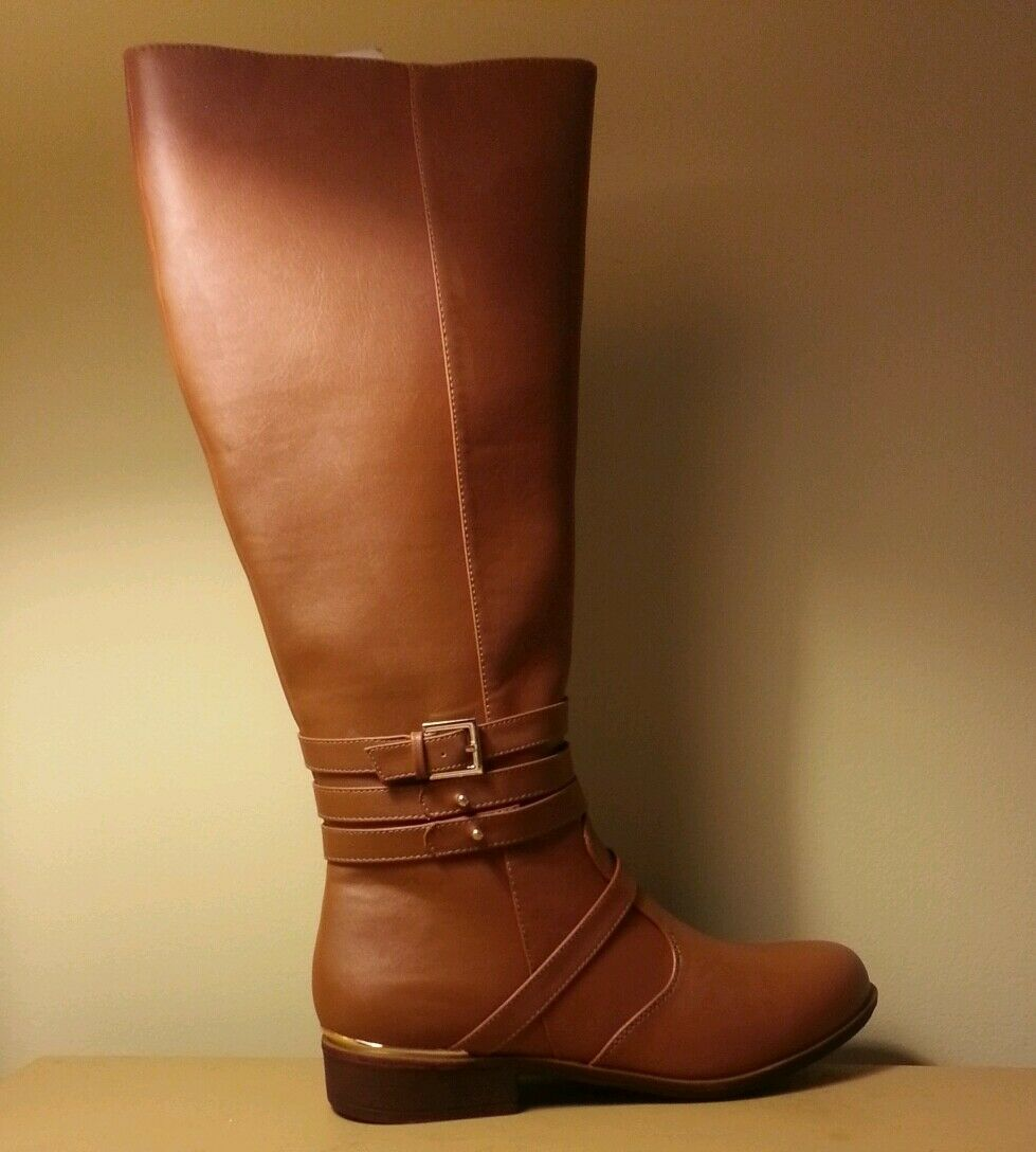Brown Boots Modern Rush Katie Riding Boot Cognac size 8.5 Knee Flats gold Women