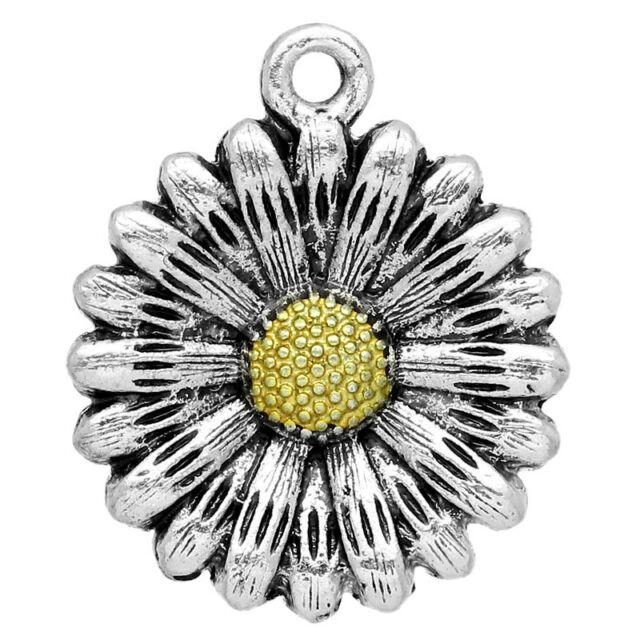 "10PCs NEW Silver Tone Sun Flower Charm Pendants 24x20mm(1""x6/8"")"