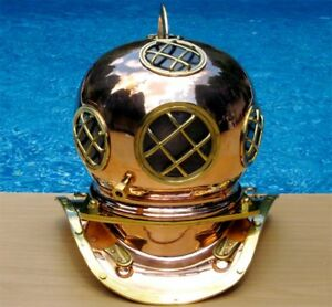 Navy Divers Helmet Copper w/Brass Detail