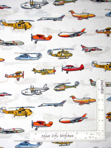 Airplane Boy Toys Air Transportation White Cotton Fabric MDG CP38137 By The Yard