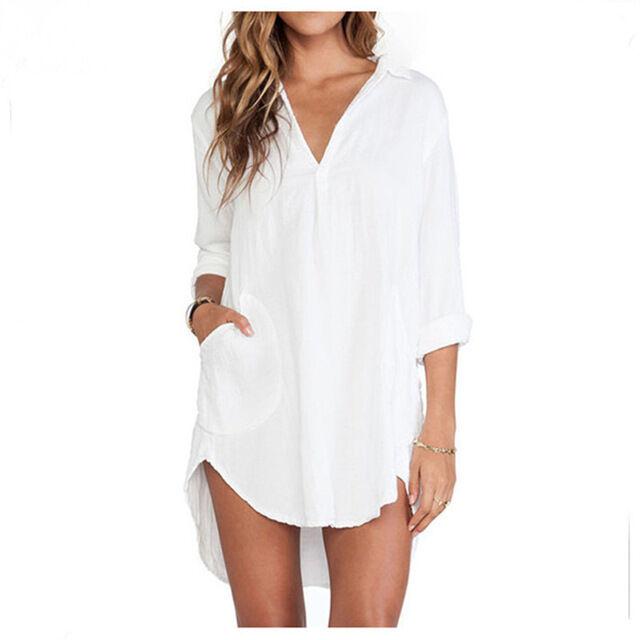 P1306 Blusas Feminina 2016 Sexy femmes chemises blanches pure robe manches longu