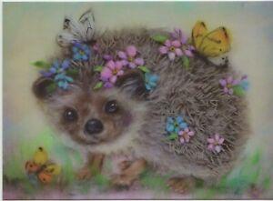 Cute HEDGEHOG Spring Flowers Butterfly ART Modern New ...