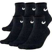 NIKE WOMEN'S BLACK CUSHIONED QUARTER SOCKS - L (Shoe Size 10-13) - 6 PAIRS/PACK