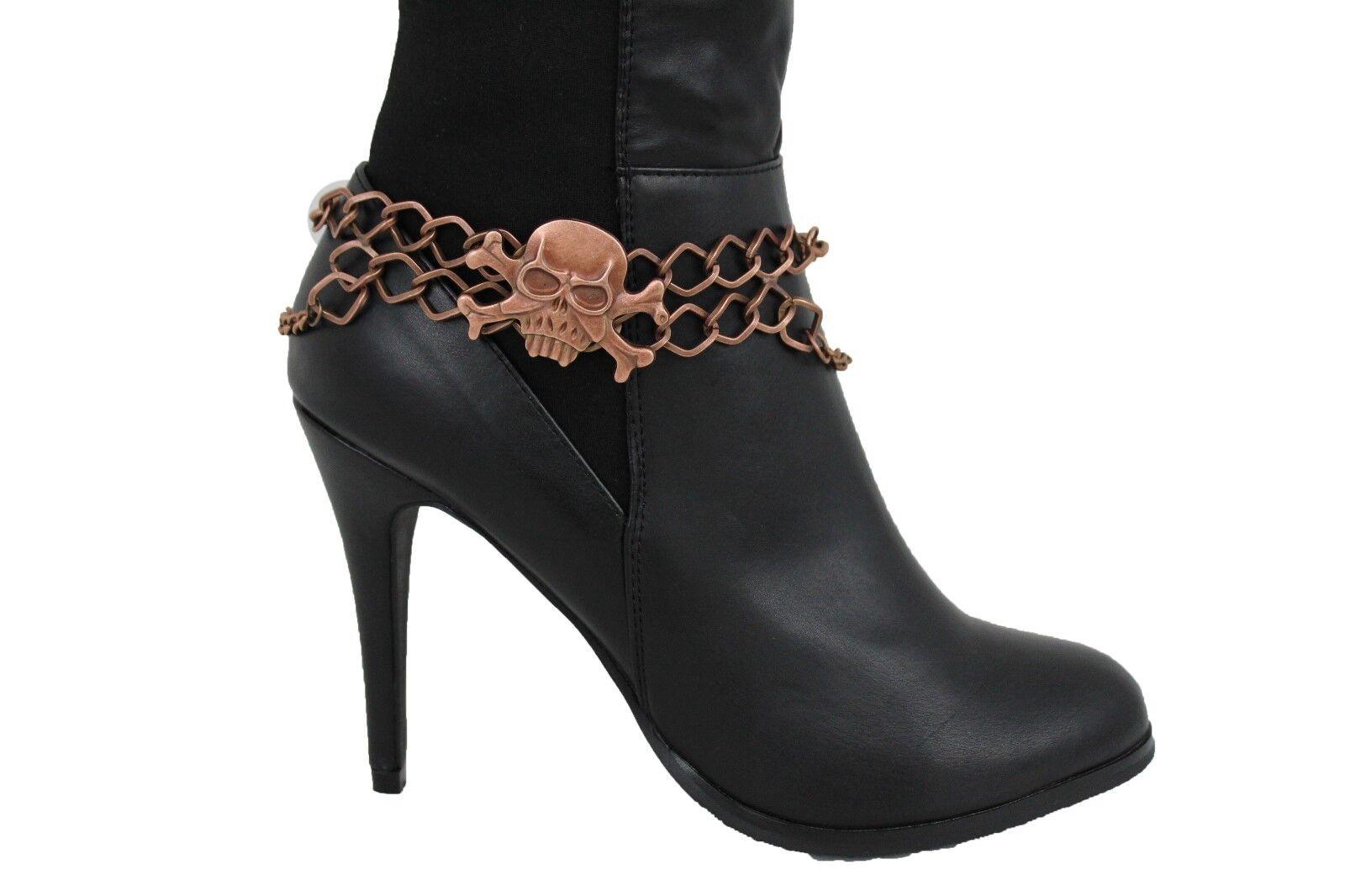 Women Dark Gold Boot Chain Strap Skeleton Skull Western Shoe Gothic Charm Anklet