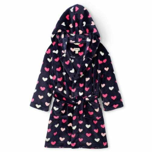 Hatley Fleece Dressing Gown Navy Blue with Pink And White Hearts Design