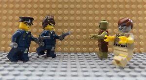 4 Lego Neuf Mini figurines 2 policiers avec des armes & 2 Zombie mort effrayant City  </span>