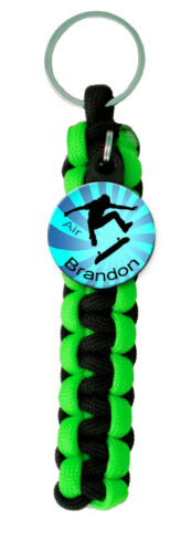 Paracord Key Ring Personalized Skate Boarder Graphics with First Name Choice