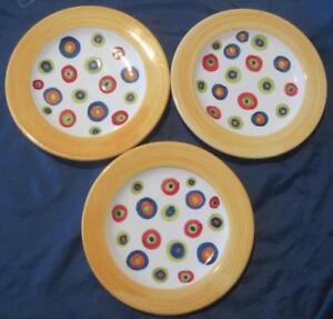 """Lot De 3 Present Tense Ditto Assiettes à Salade Dots Jaune Jante De 8.5"""" Italie Lot-b-afficher Le Titre D'origine Prqlvuxu-07232750-845306210"""