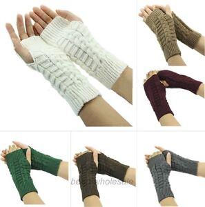 Fashion Women Knitted Fingerless Winter Gloves Unisex Soft Warm Mitten 7 Colors