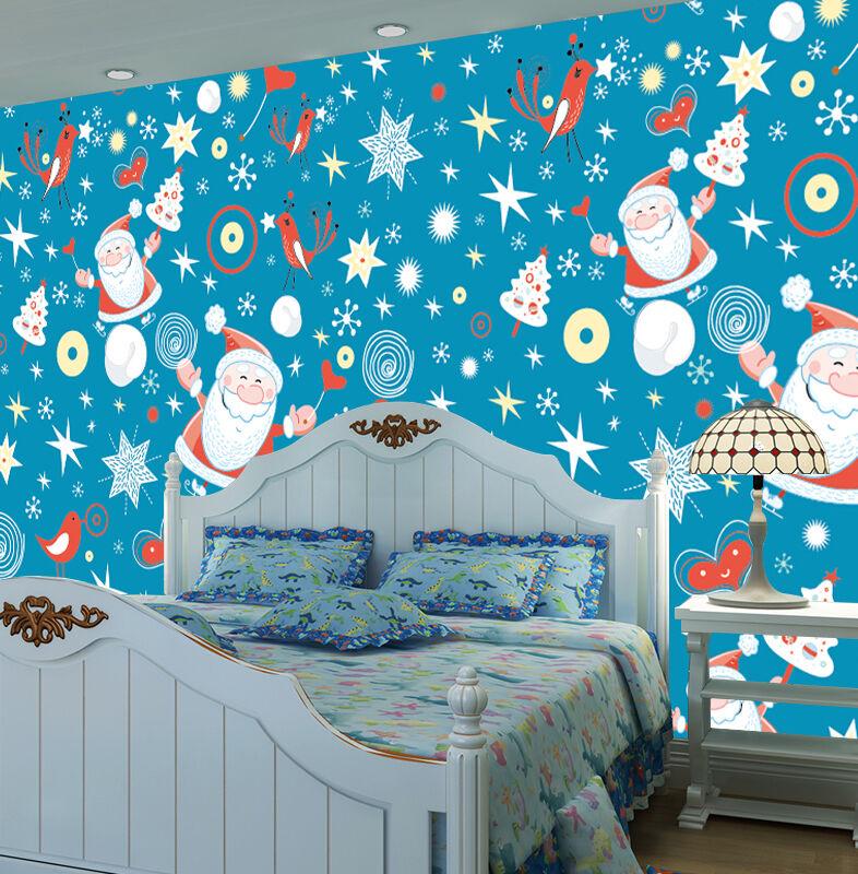 3D Christmas Santa stars Wall Paper Print Decal Wall Deco Wall Indoor Murals