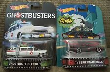 HOT WHEELS RETRO ENTERTAINMENTGHOSTBUSTERS ECTO-1 & TV SERIES BATMOBILE *NU*