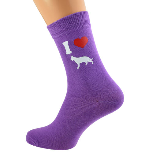 Alsatians Ladies Purple Dog Socks UK Size 4-8 X6N141 I Love German Shepherds