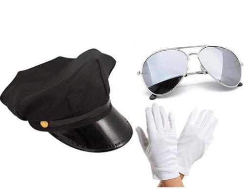 Cappello Autista Limousine Taxi Driver tema Cappello Guanti Bianchi AVIATORI Kit Costume