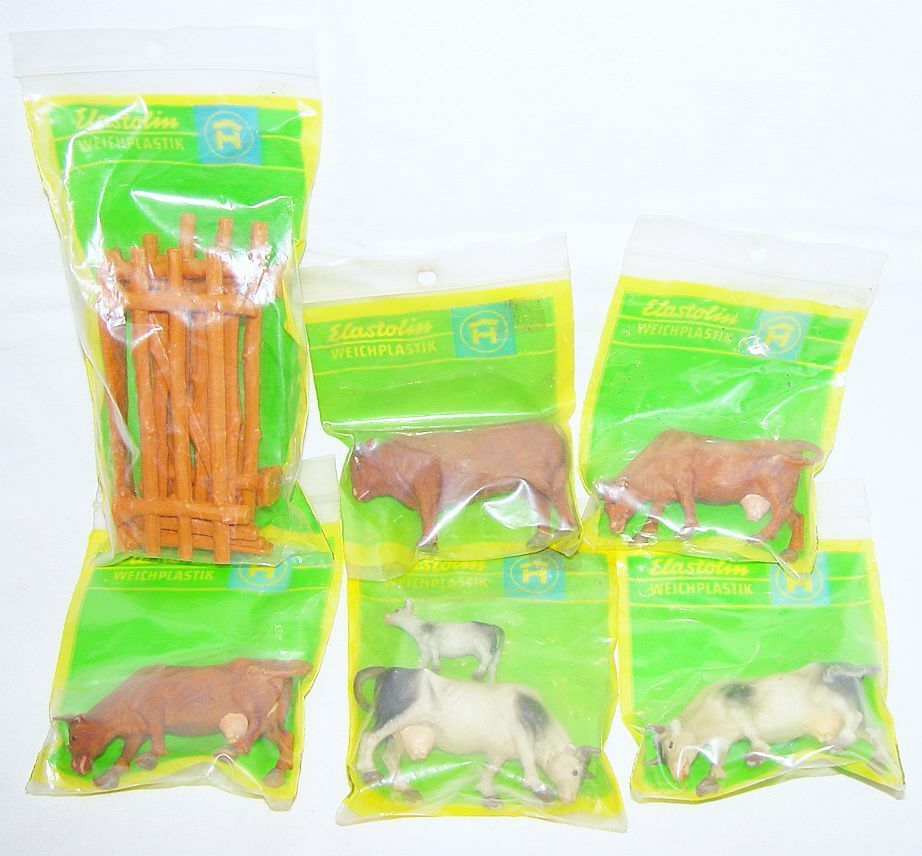 6x Elastolin Hausser 1 32 Mixed FARM COWS & BULL Plastic Animal Figurea MIB`70