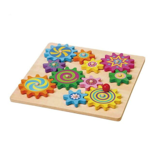 VIGA Wooden Spinning Gears & Cogs Childrens Toddler Activity Play Toy Colourful