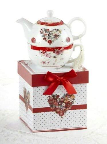 Delton Tea For One Stacked Teapot Red Floral Heart Porcelain Dots Gift Box NEW