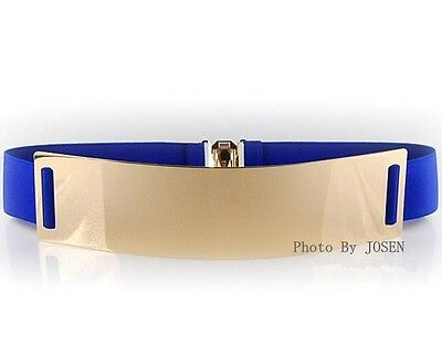 Elastic lady's Women's Metal Waist Belt Metallic Bling Gold Plate Obi colorful