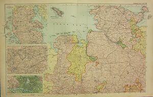 1912 LARGE ANTIQUE MAP GERMANY NORTH WEST ENVIRONS HAMBURG eBay