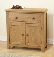 Burnham Solid Chunky Wood Rustic Oak Small Compact Sideboard Cupboard Cabinet