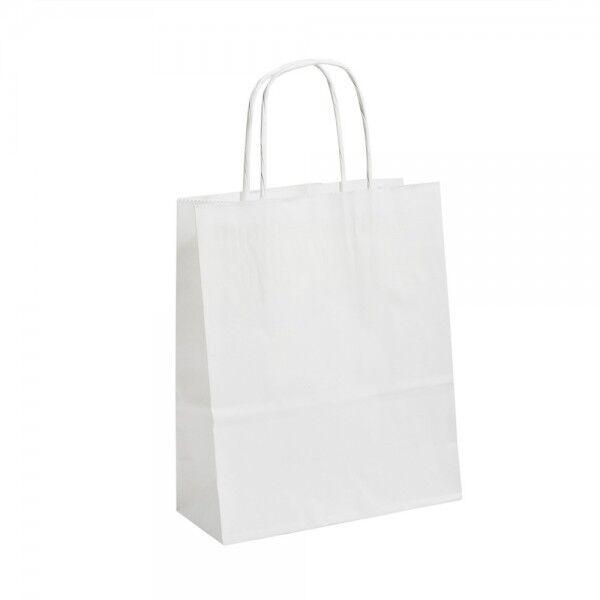Luxe Blanc poignée torsadée papier kraft cadeau cadeau kraft Sacs 26 cm x 34 cm x 11 cm 1937ac