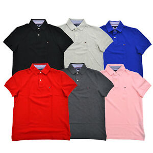 7ac00813 Tommy Hilfiger Polo Shirt Mens Custom Fit Mesh Knit Casual Collared ...