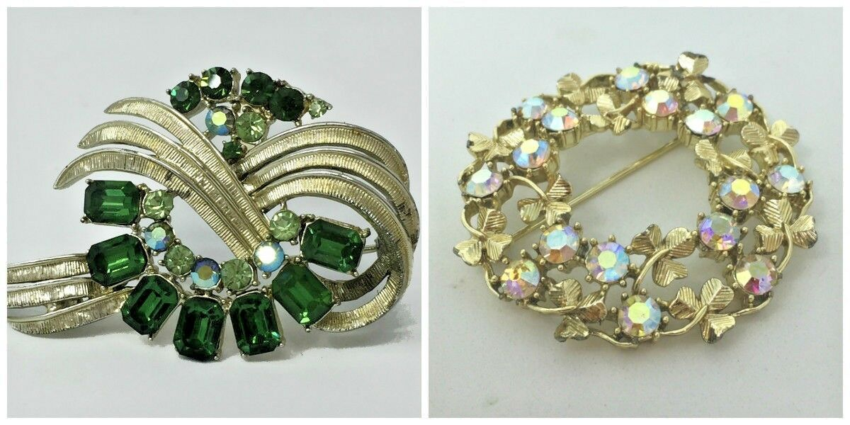 Cgold LOT 2 High End Brooch GREEN Rhinestone pin AB Aurora Borealis wreath