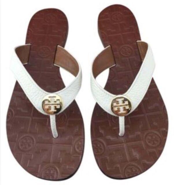 db59123cfc26a Tory Burch NIB Thora Thong Flat Sandals Tumbled Leather Logo  43089 ...