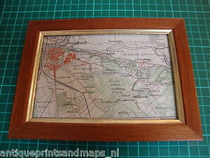 Antique-print-map-Nijmegen-Holland-1905-framed-prent-in-lijst-landkaart