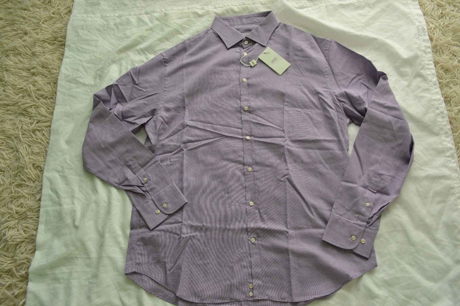 ARMANI COLLEZIONI SHIRT IN MICRO FANCY WEAVE COTTON Size 43 17 Long Brand New