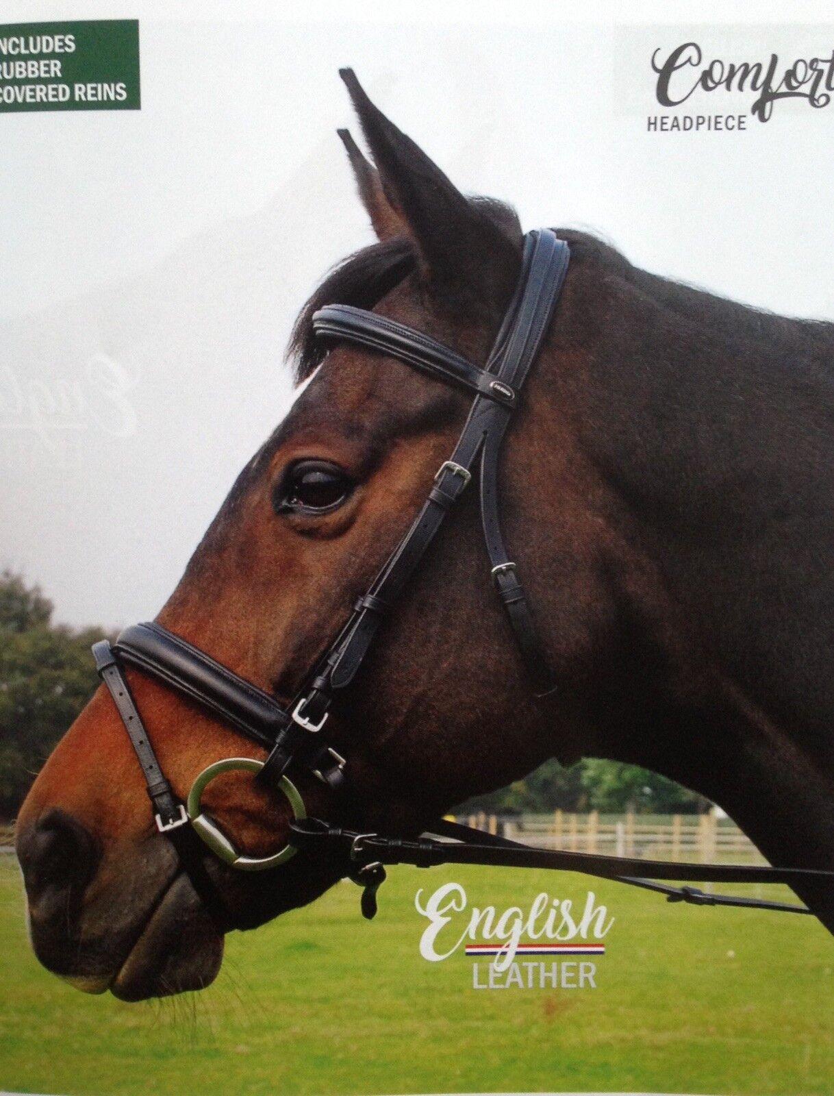 Pony Size Havana Heritage English Leather Bridle With Flash Noseband